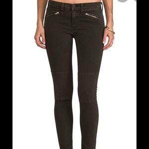 NWT Rag & Bone Ridley Moto Jeans Dark Olive, sz 27